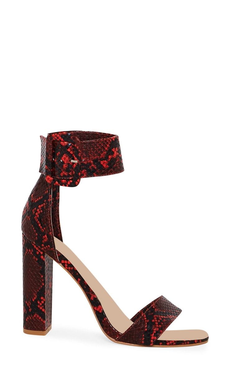 Red Faux Snake Ankle Buckle Block Heel 3