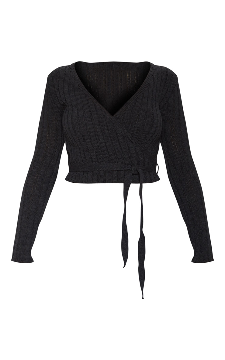 Black Ribbed Knit Wrap Front Top  3