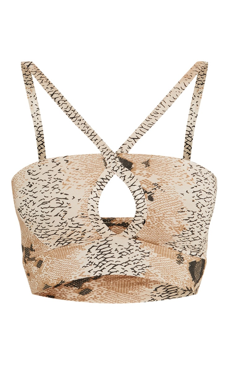 Shape Taupe Snake Print Strappy Crop Top 3
