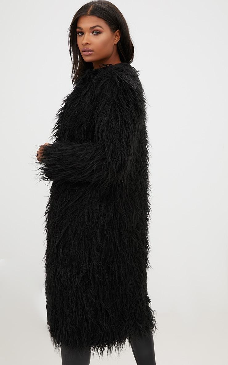 Manteau long en fausse fourrure hirsute noir 2