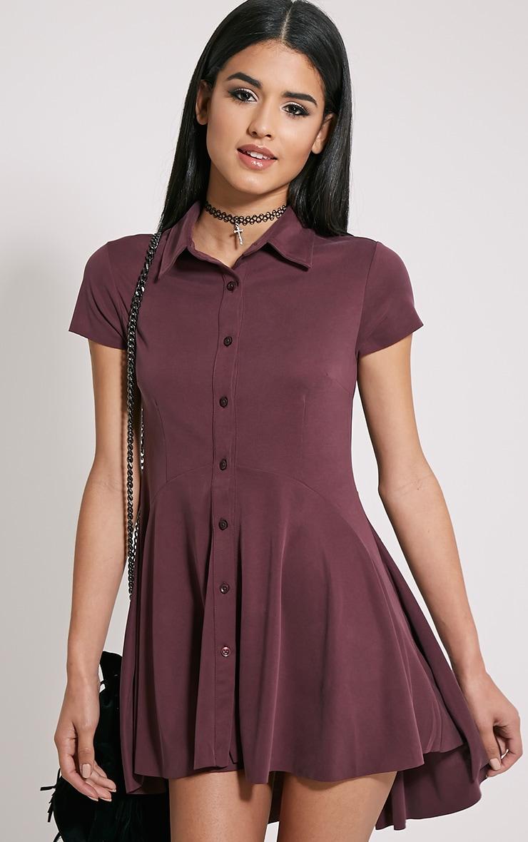 Shaya Plum Brushed Crepe Shirt Dress 1
