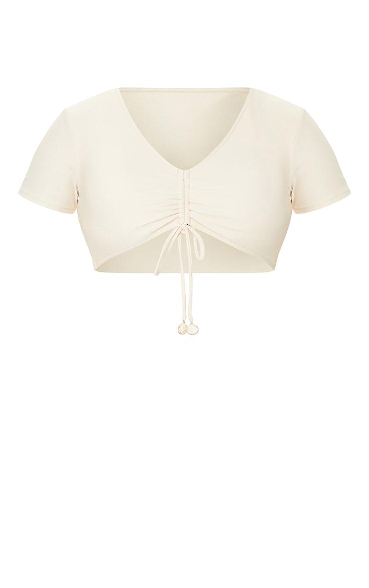 Sand Ruched Shell Trim T-Shirt Bikini Top 5