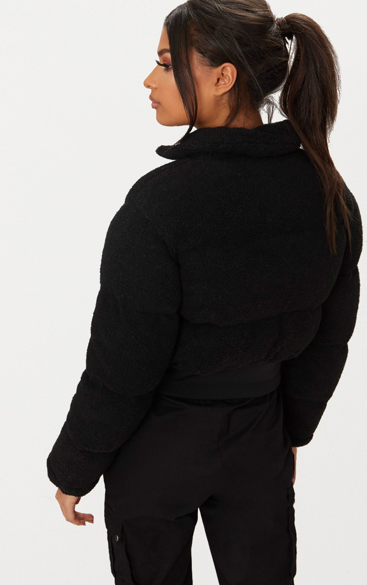 Black Borg Bubble Cropped Bomber Jacket 2