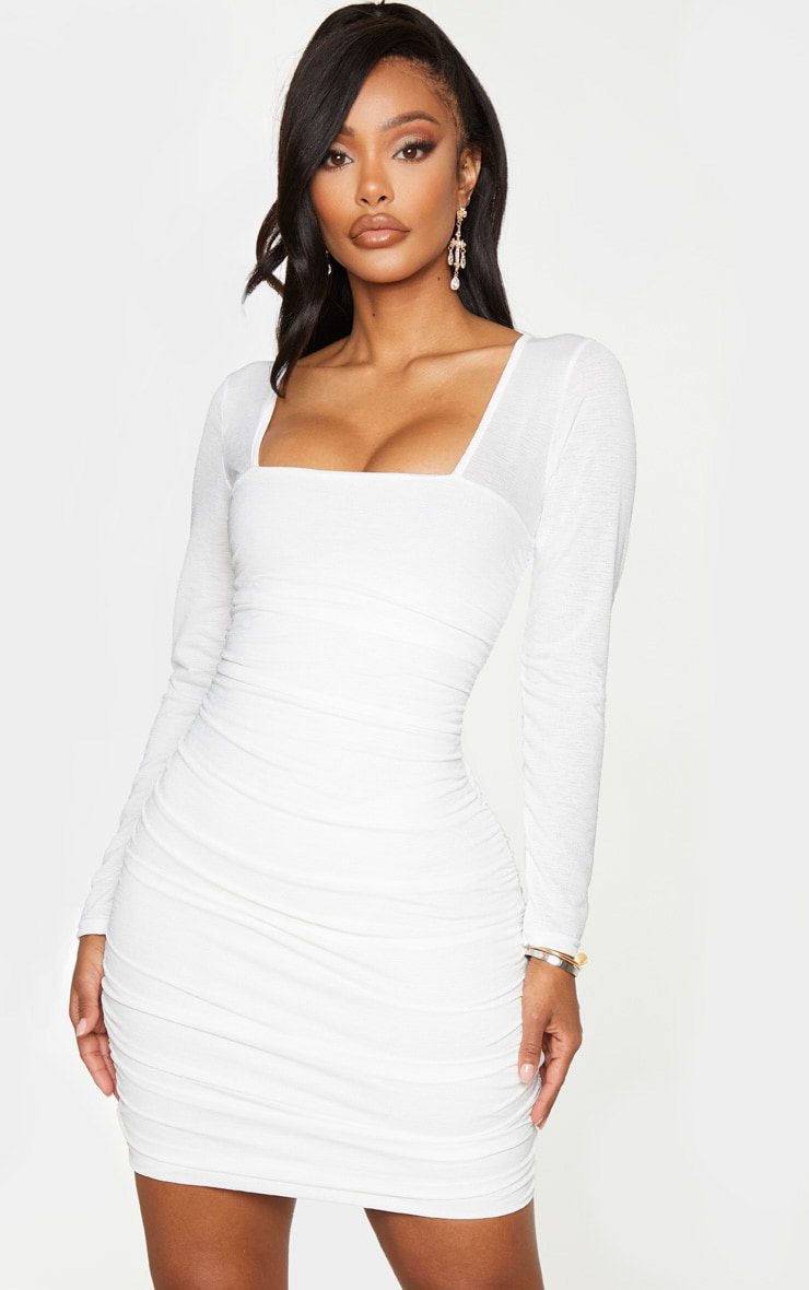 Shape White Ruched Square Neck Bodycon Dress 1