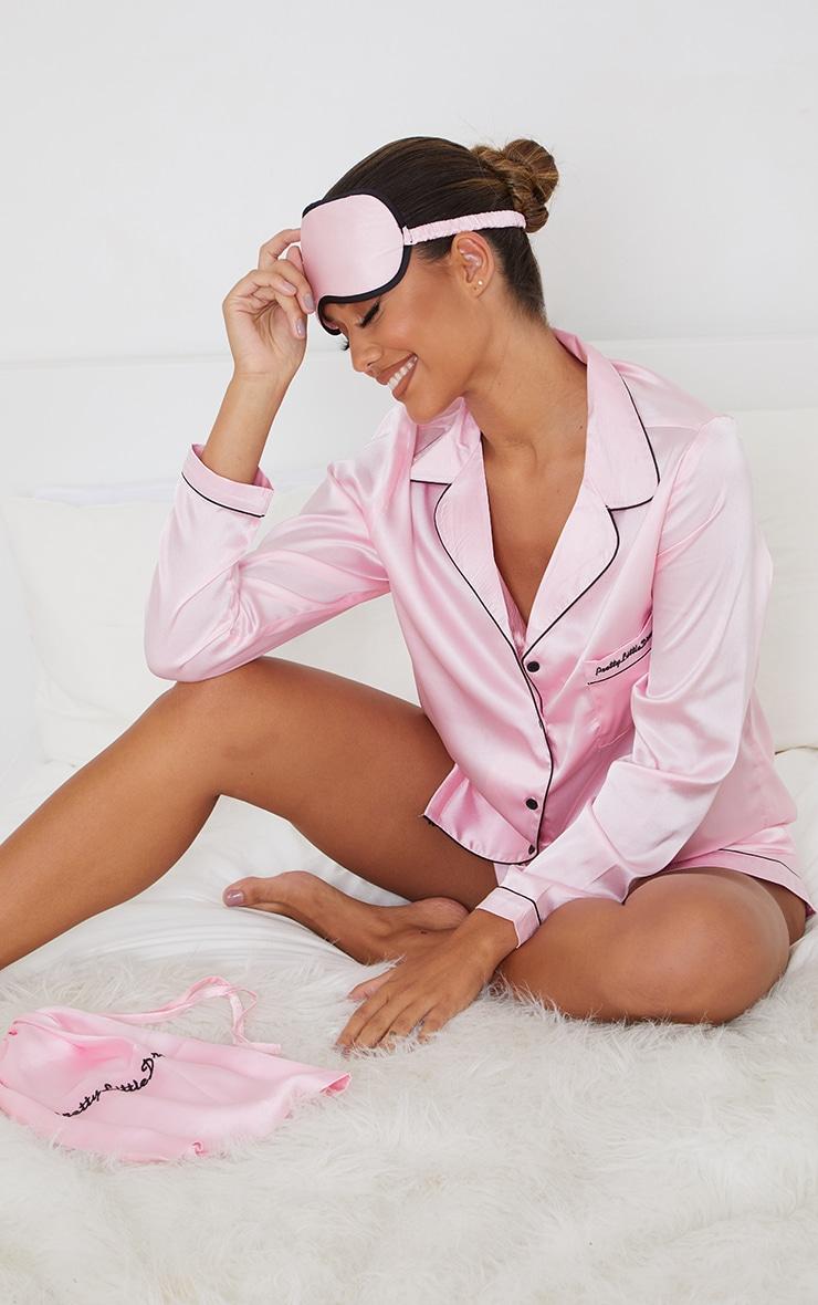 Pretty Little Dreams Pink Satin Long Shirt And Short PJ Gift Set 1