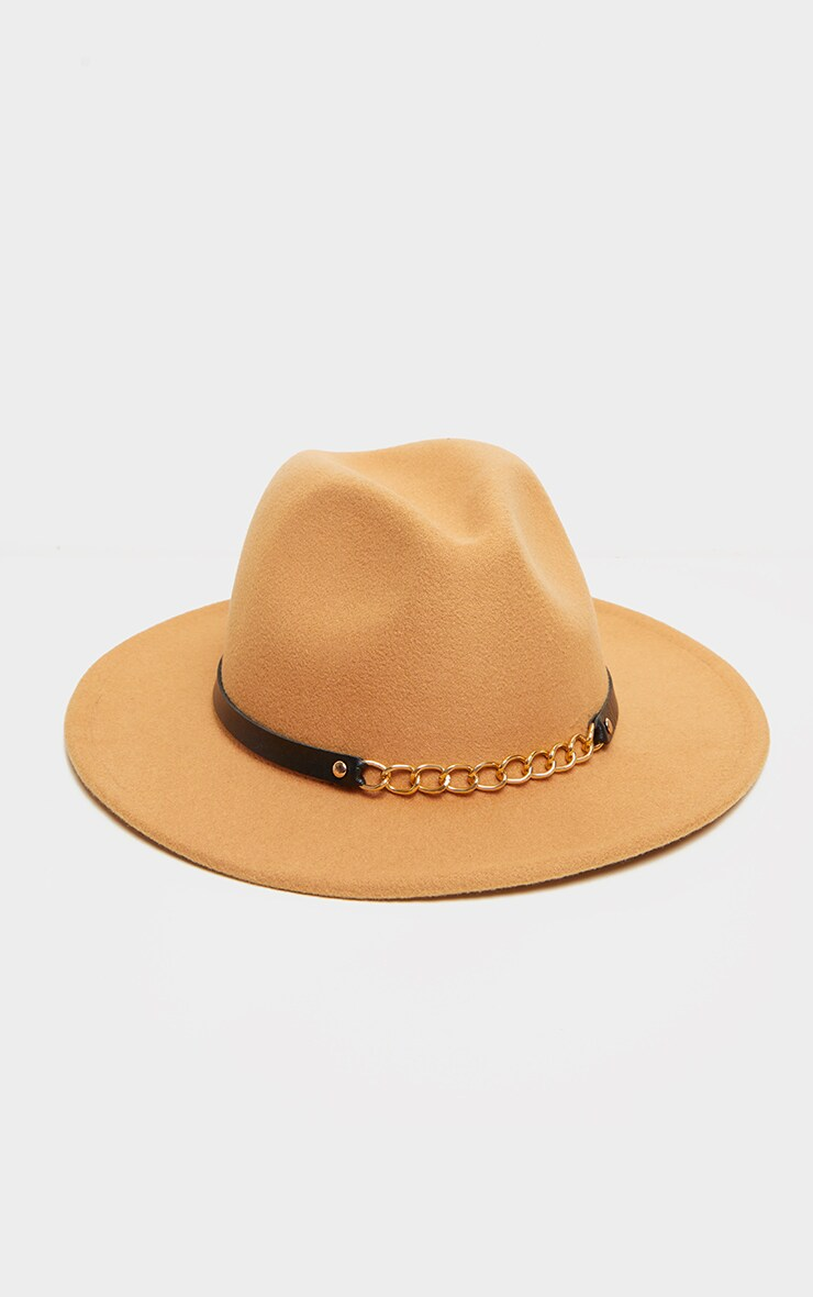 Tan With Gold Chain Fedora 2