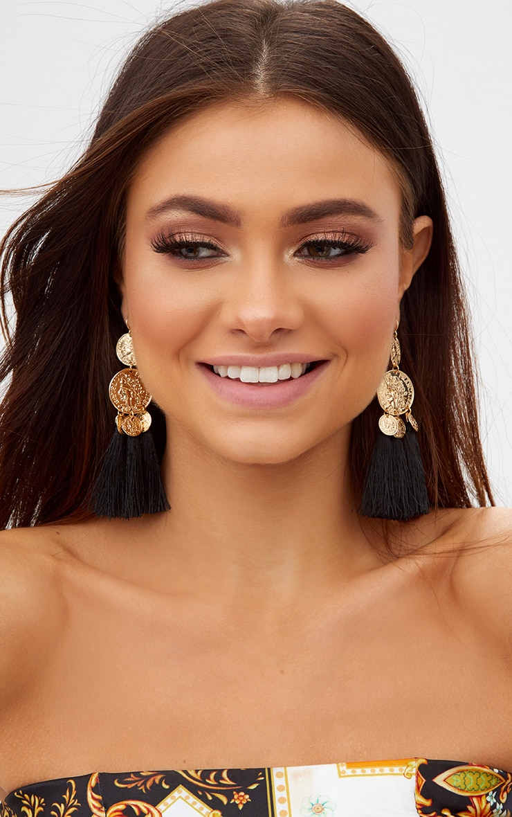 Black Coin Drop Tassel Earrings 1