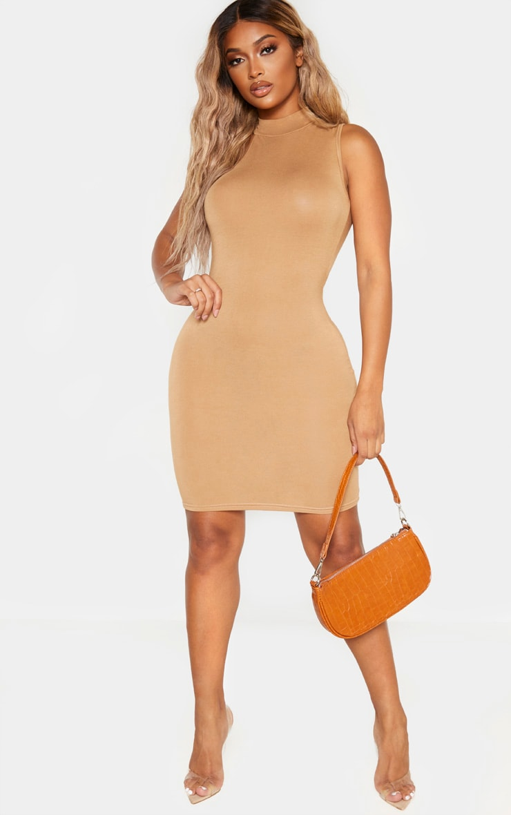 Shape Camel Jersey High Neck Bodycon Dress 3