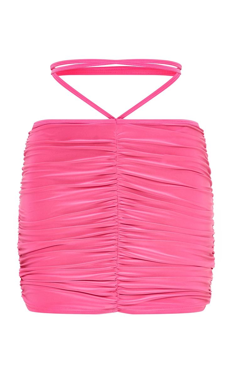 Hot Pink Slinky Tie Waist Mini Skirt 6