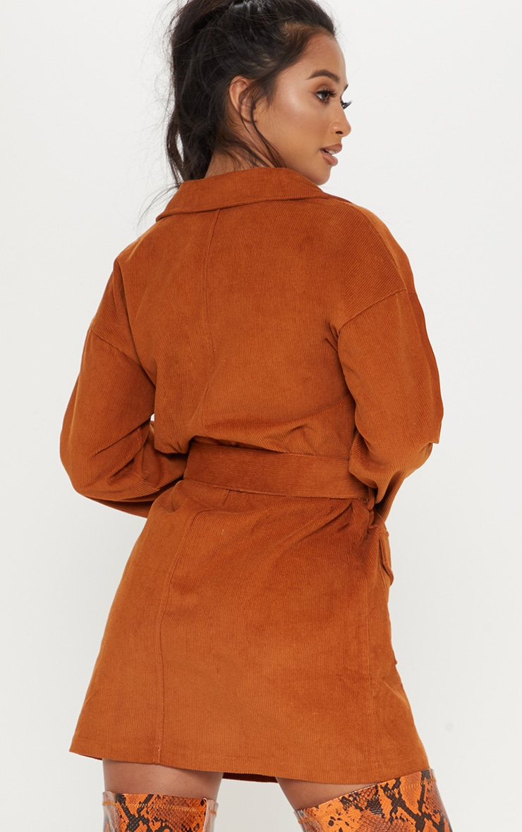 Petite Rust Cord Button Front Belted Shirt Dress 2