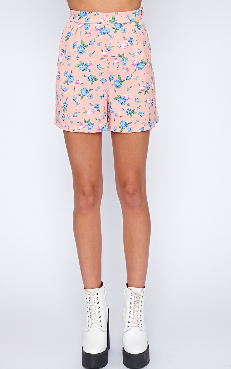 Aleah Pink Floral Tailored Shorts 3