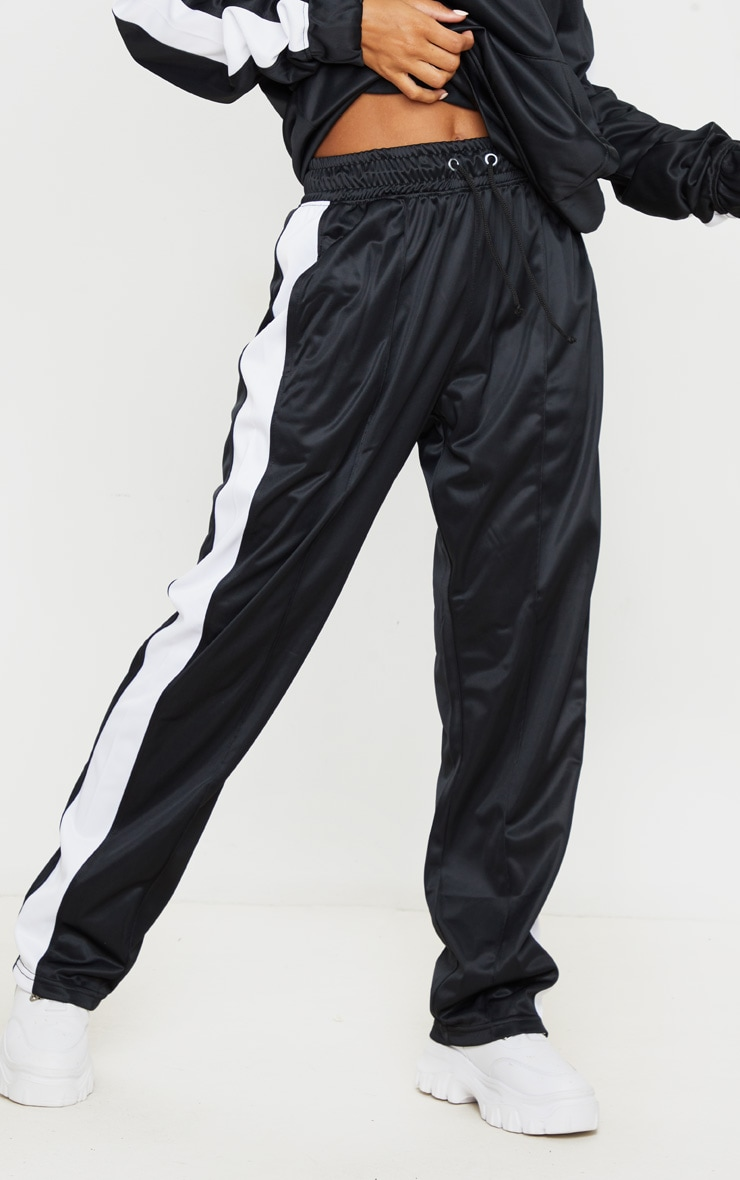 Black Tricot Side Stripe Skinny Joggers 2