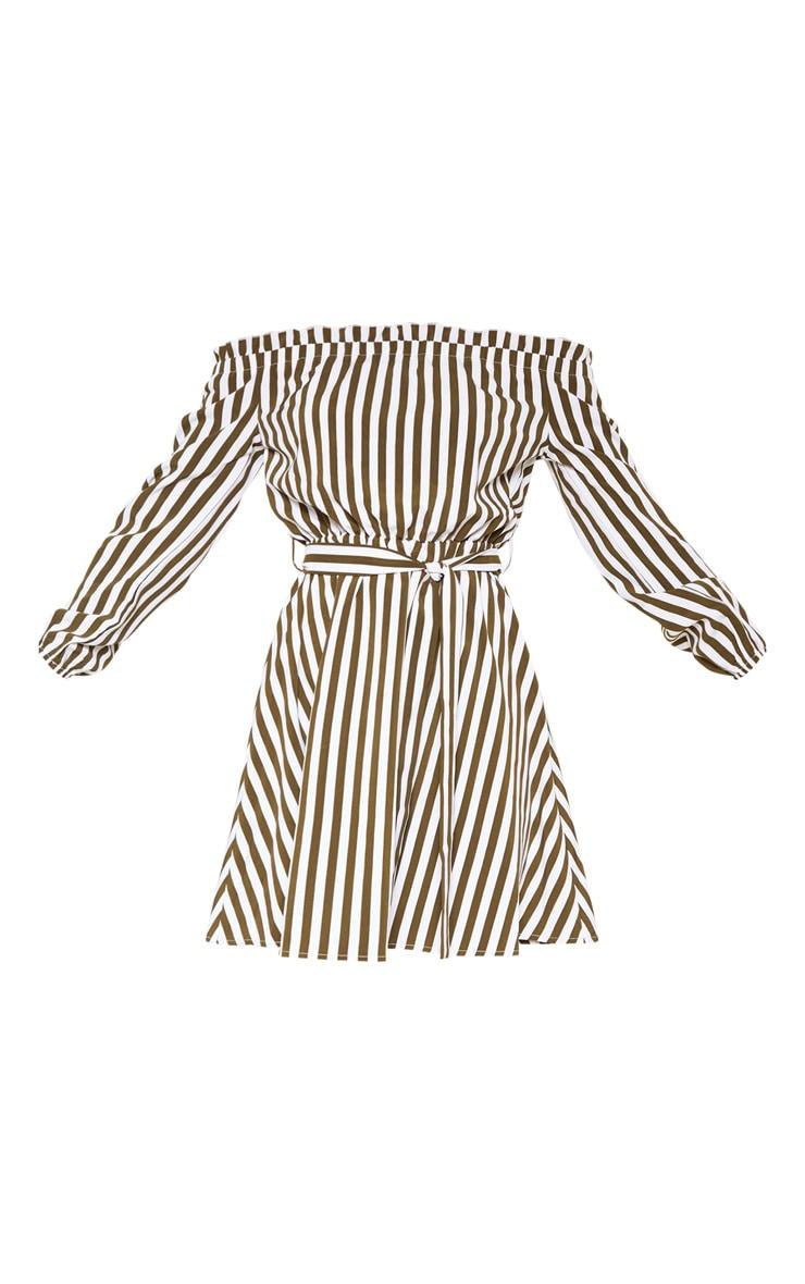 Khaki Stripe Satin Tie Bardot Dress  3