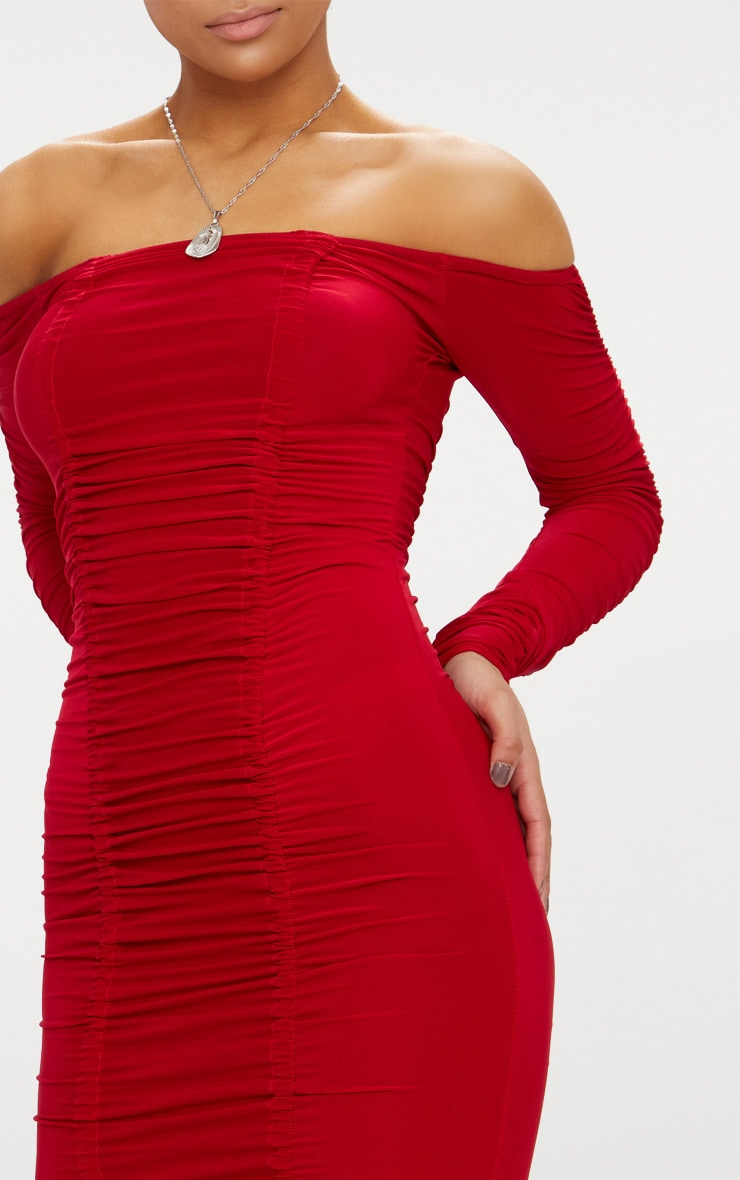 Red Bardot Ruched Slinky Midi Dress 5