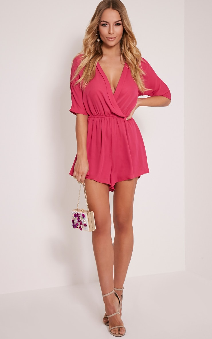Bobby Hot Pink Wrap Front Playsuit 5