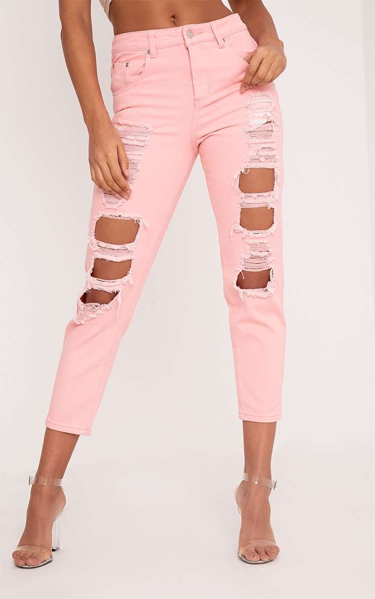 Pink Extreme Shred Mom Jean 2