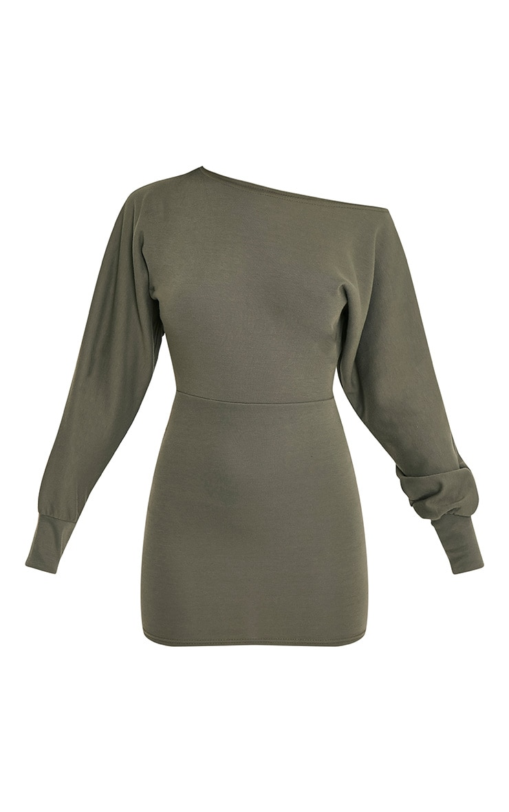 Narlie Khaki Off The Shoulder Sweater Dress 3