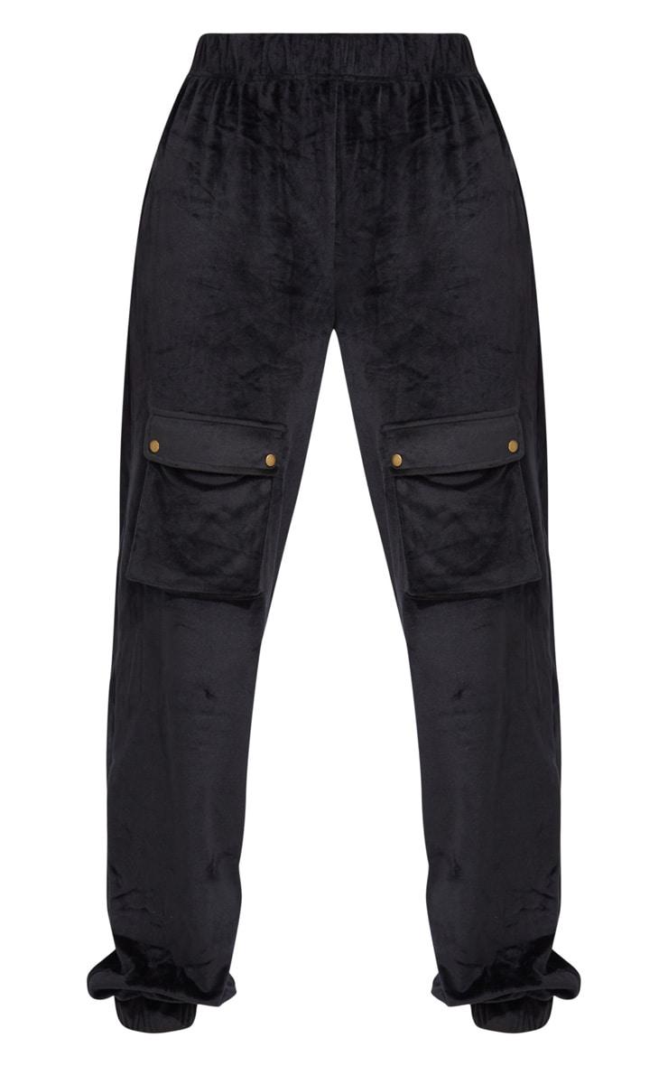 Tall Black Cargo Pocket Detail Velvet Joggers 5