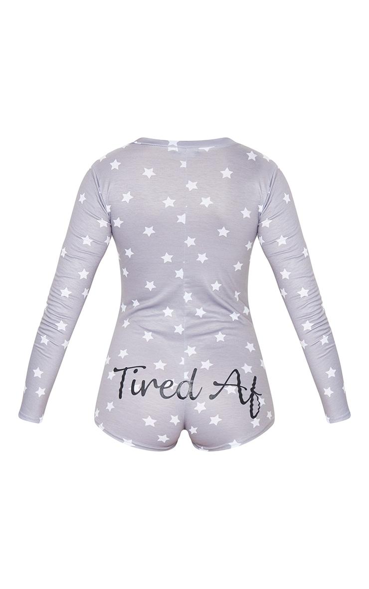 Pyjashort gris à imprimé Tired AF 6