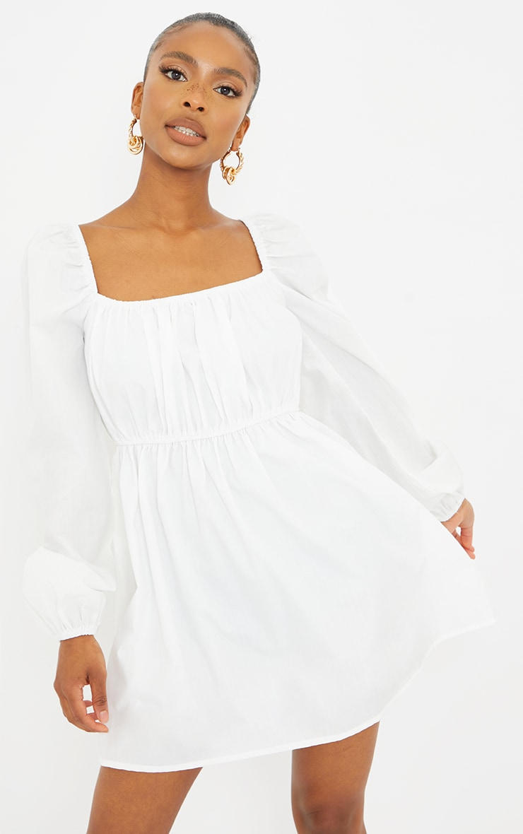 Petite White Ruched Balloon Sleeve Smock Dress 1