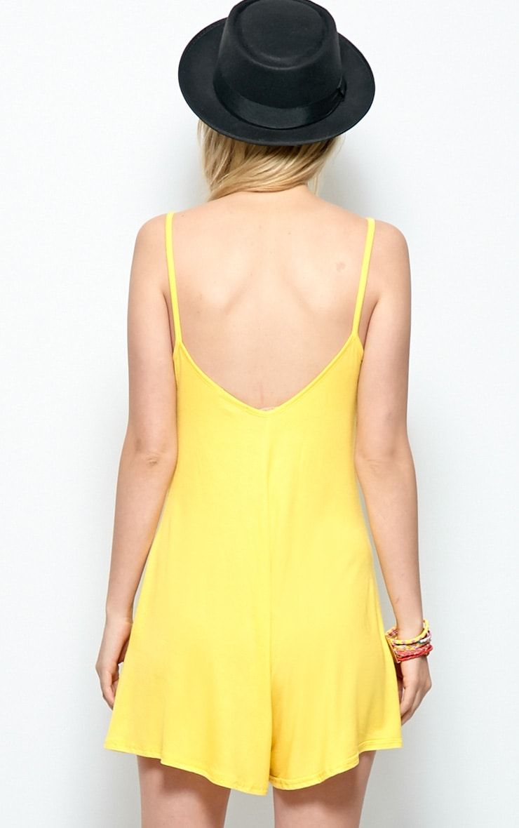 Isabel Yellow Strappy Swing Playsuit 2