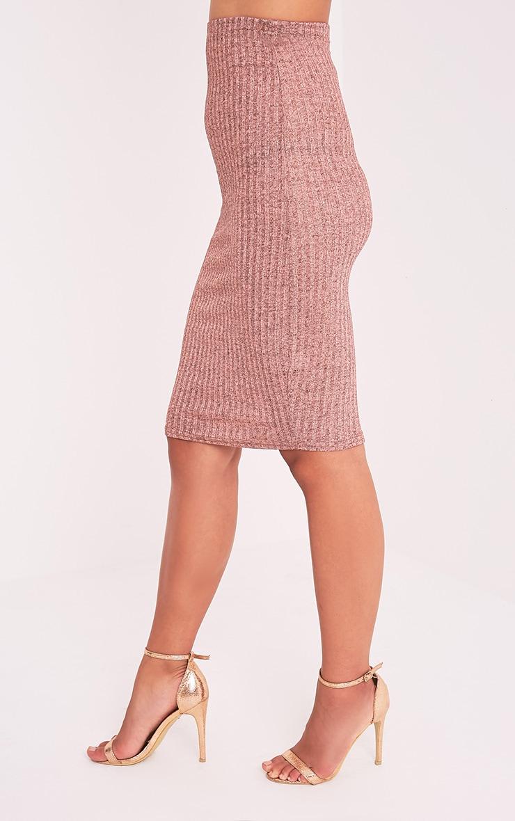Saphira Rose Gold Ribbed Midi Skirt 3