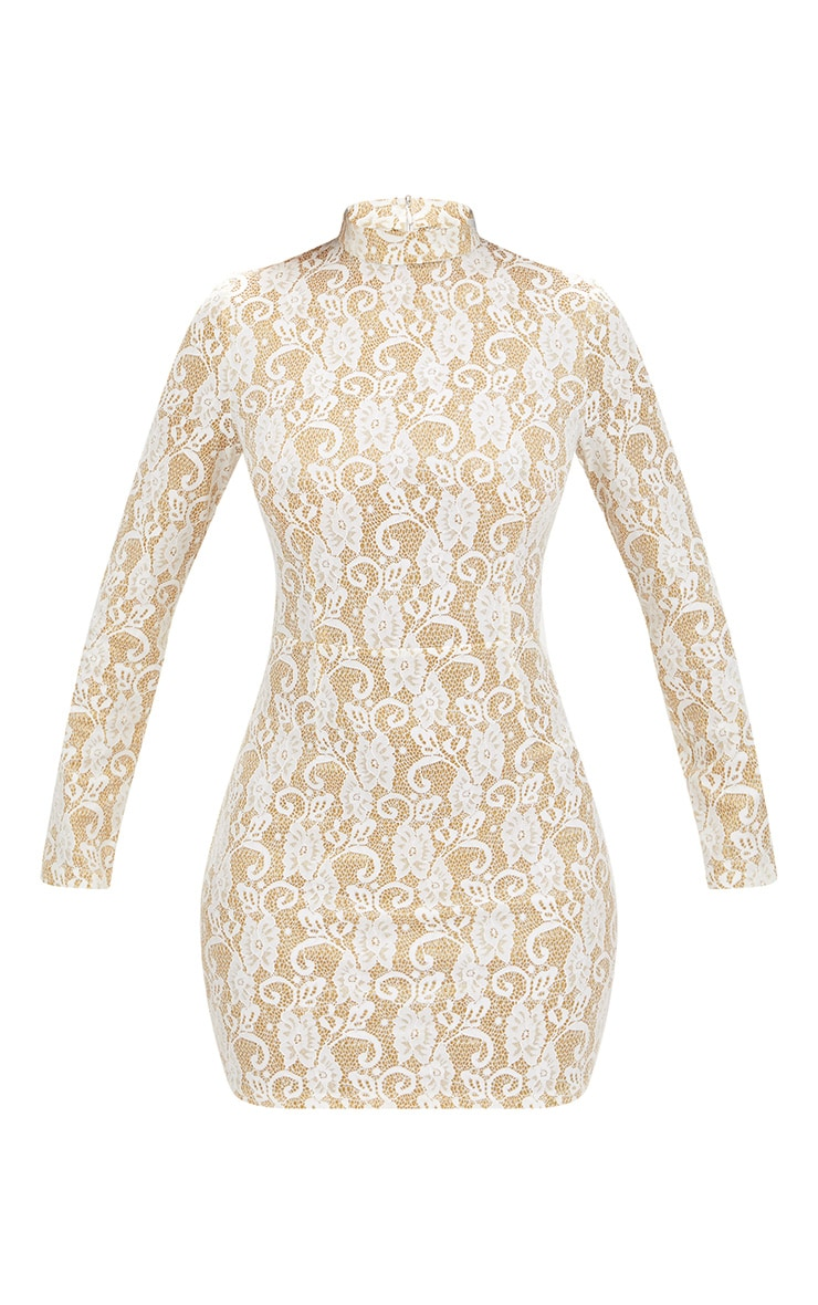White Glitter Lace High Neck Bodycon Dress  3