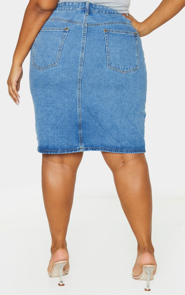 Plus Mid Blue Wash Split Detail Denim Midi Skirt 4