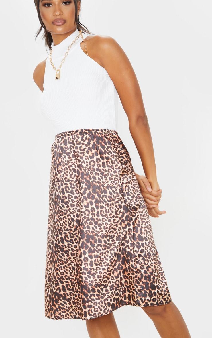 Satin Leopard Print Midi Skirt  5