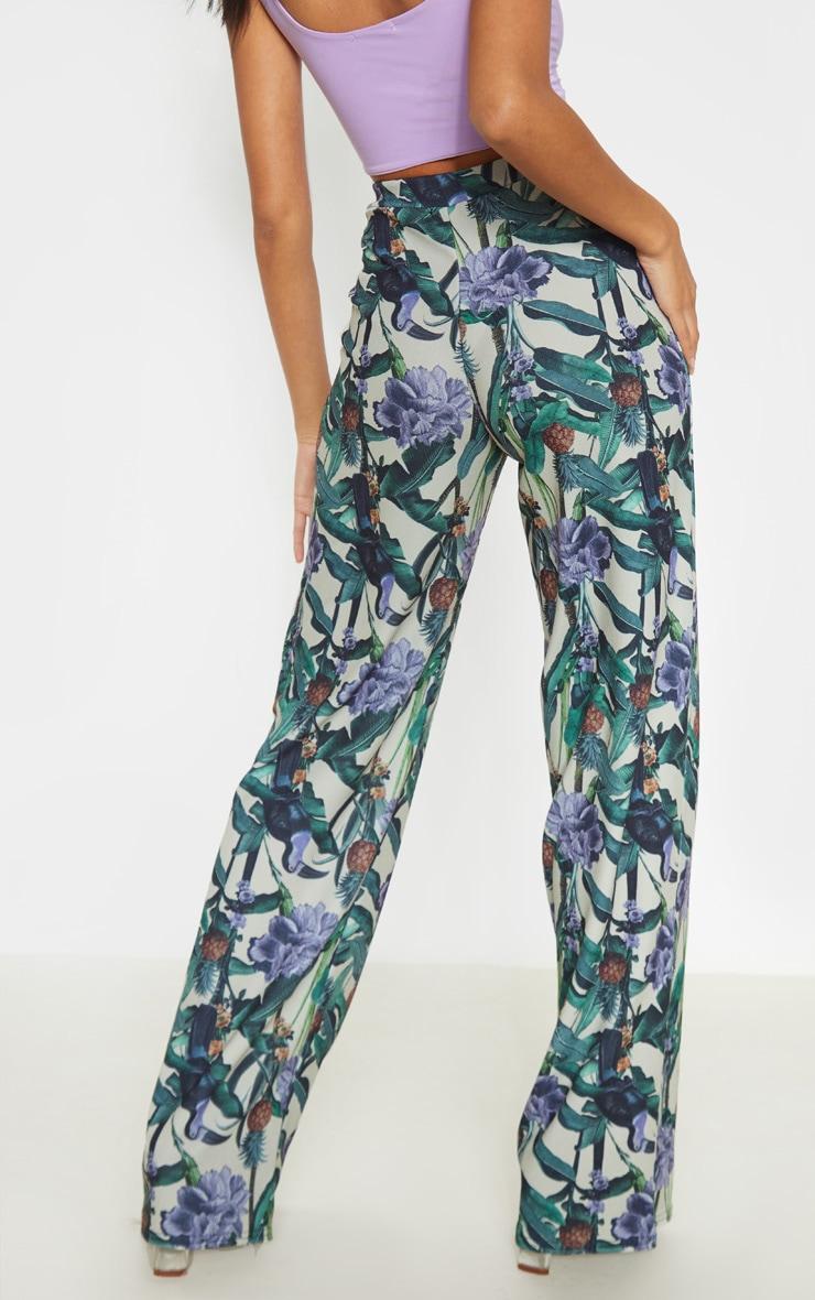 Sage Green Floral Print Wide Leg Trouser  4