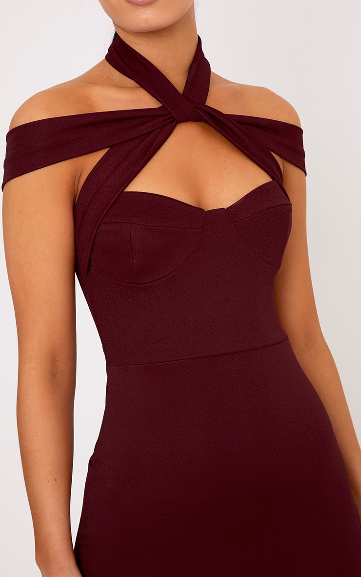 Pandara Burgundy Strappy Top Detail Midi Dress 5
