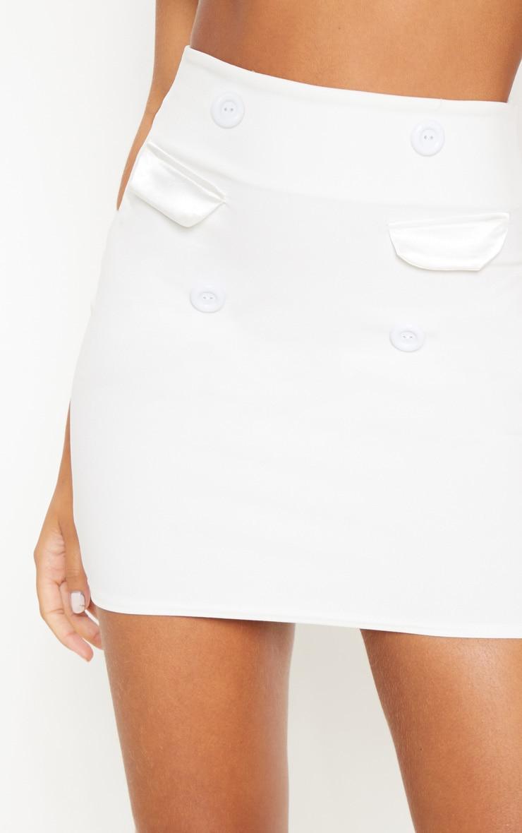 White High Waisted Button Detail Mini Skirt 6