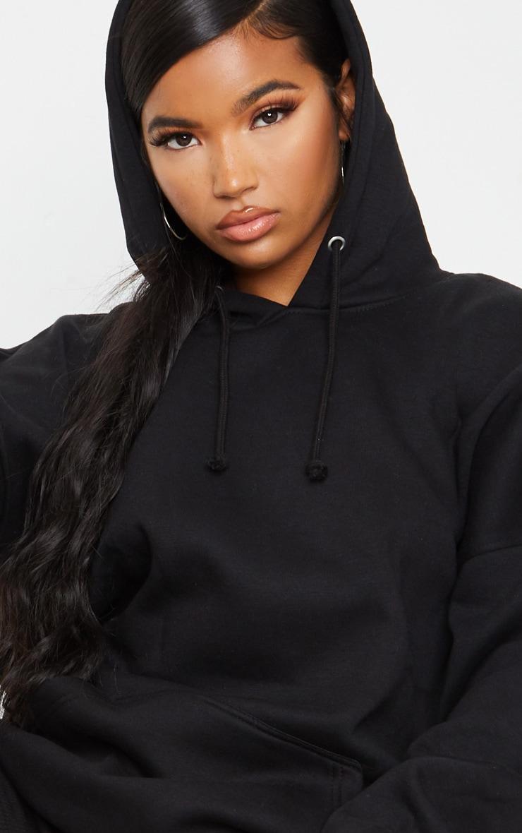 Black Oversized Pocket Front Drawstring Hoodie 4