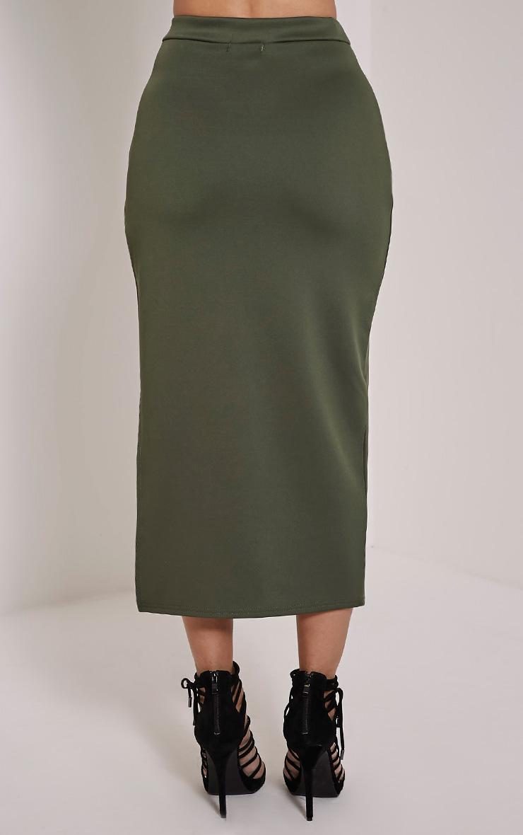 Ella Khaki Scuba Midi Skirt 5