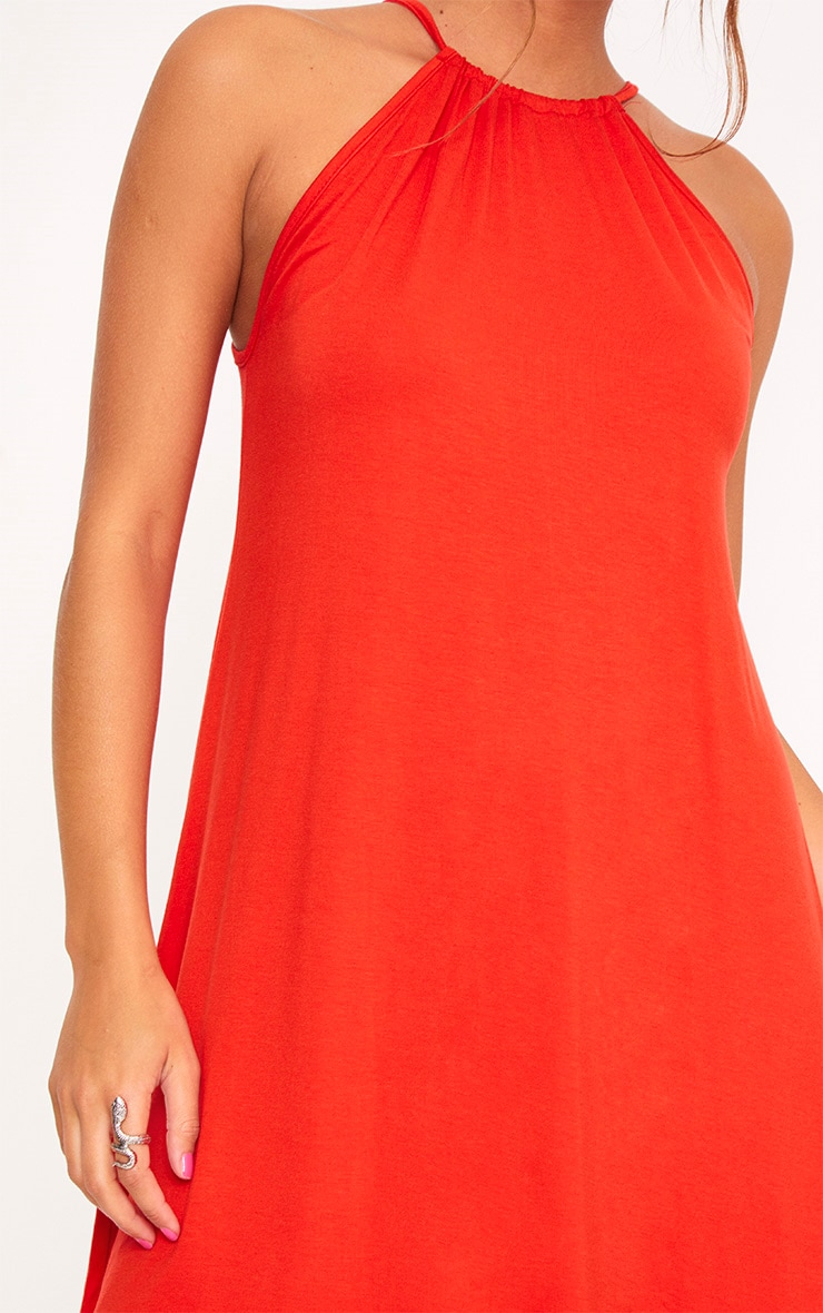 Orange Ruched Halterneck Shift Dress  5