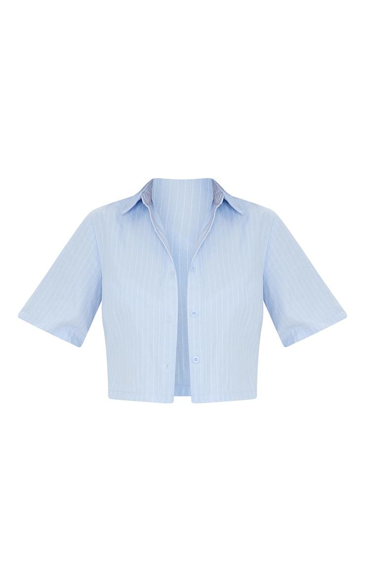 Blue Pinstripe Linen Feel Short Sleeve Crop Shirt 5