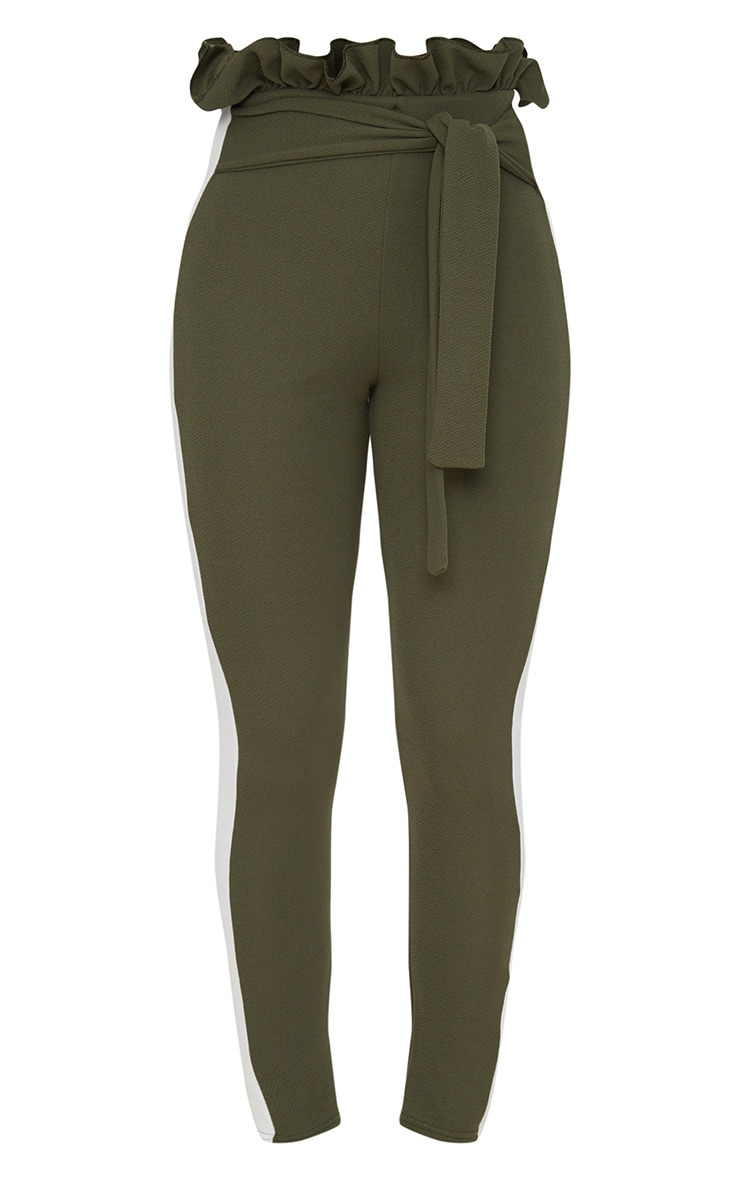Khaki Side Stripe Paperbag Skinny Trousers 3