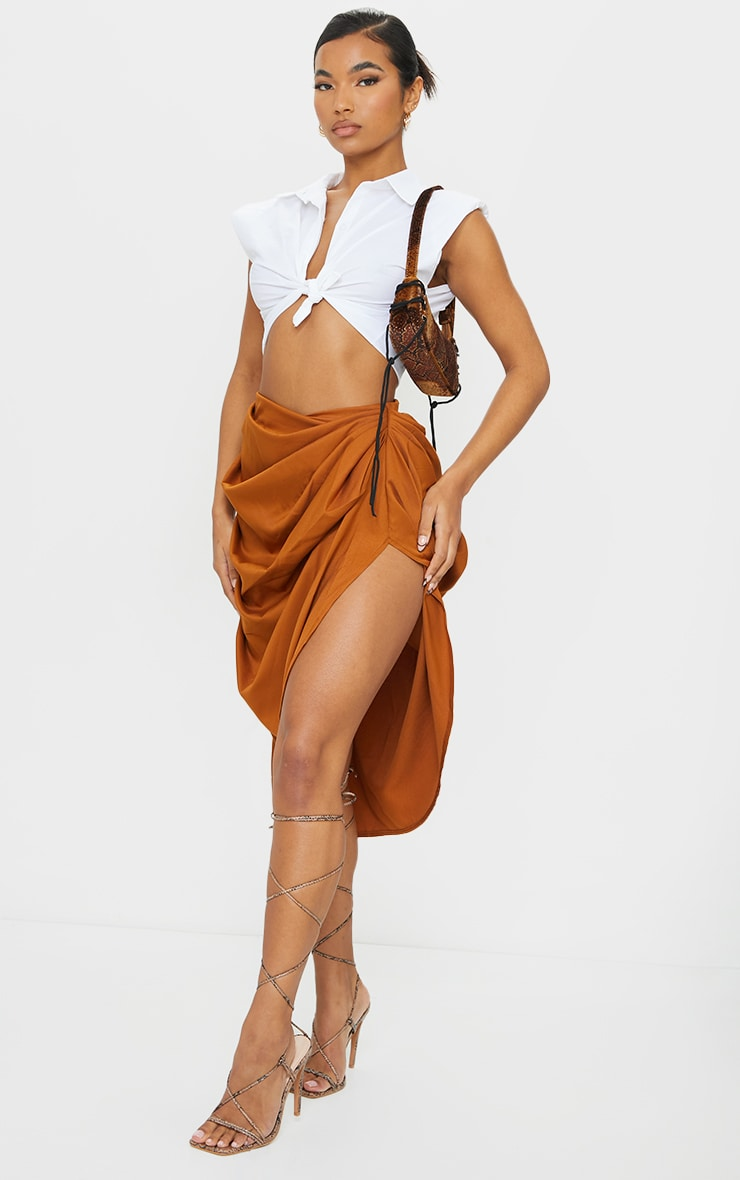 Brown Ruched Side Midi Skirt 1