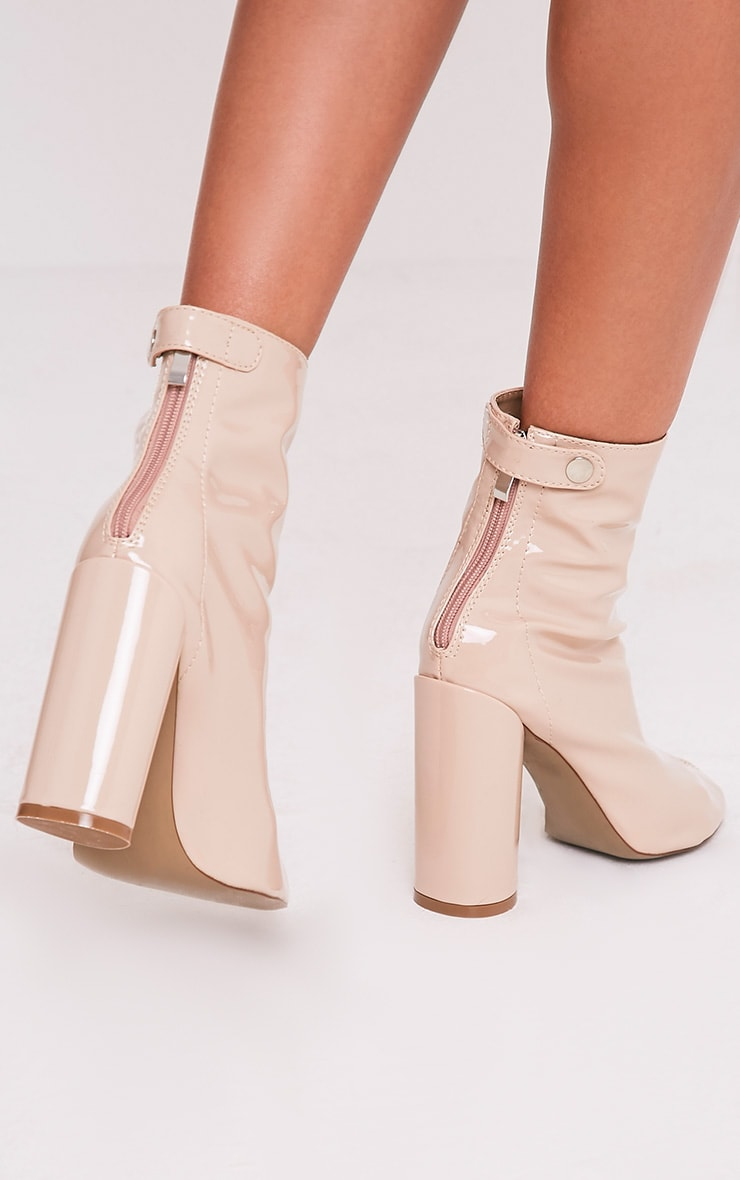 Amie Nude Patent Heeled Ankle Boots 2