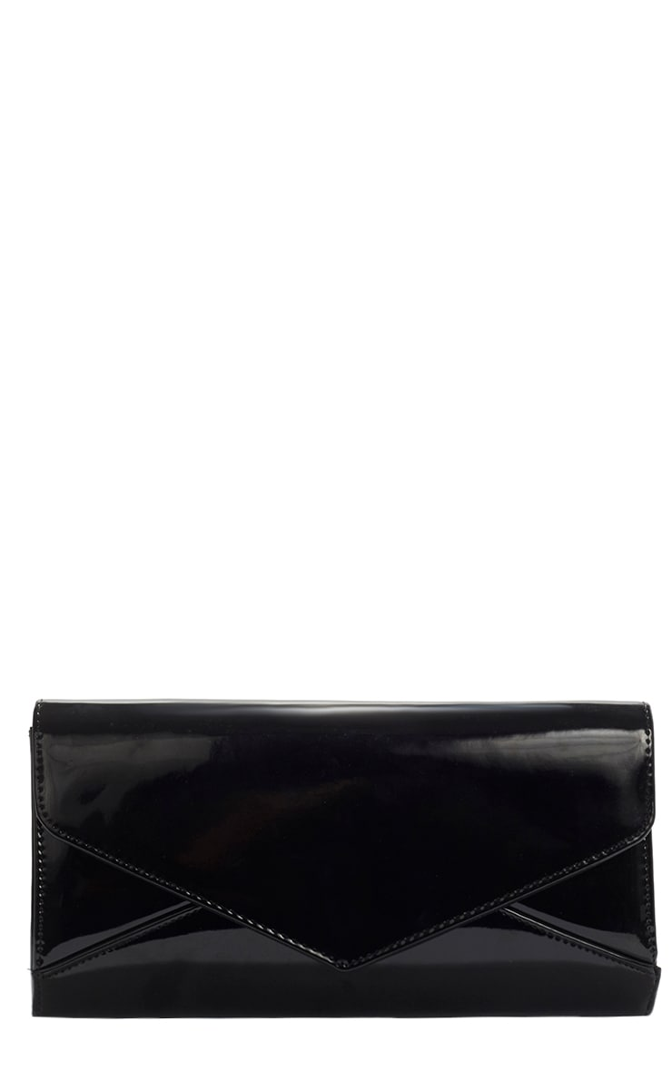 Ashanti Black Patent Clutch Bag 1