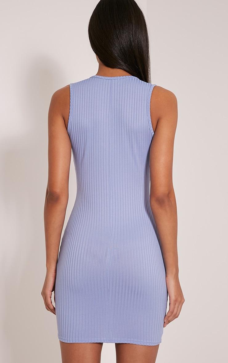 Gayna Dusty Blue Plunge Neck Ribbed Bodycon Dress 2
