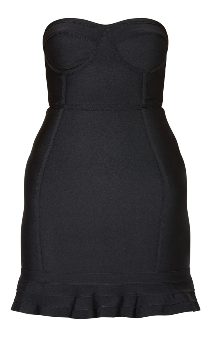 Black Bandage Frill Hem Bodycon Dress 1