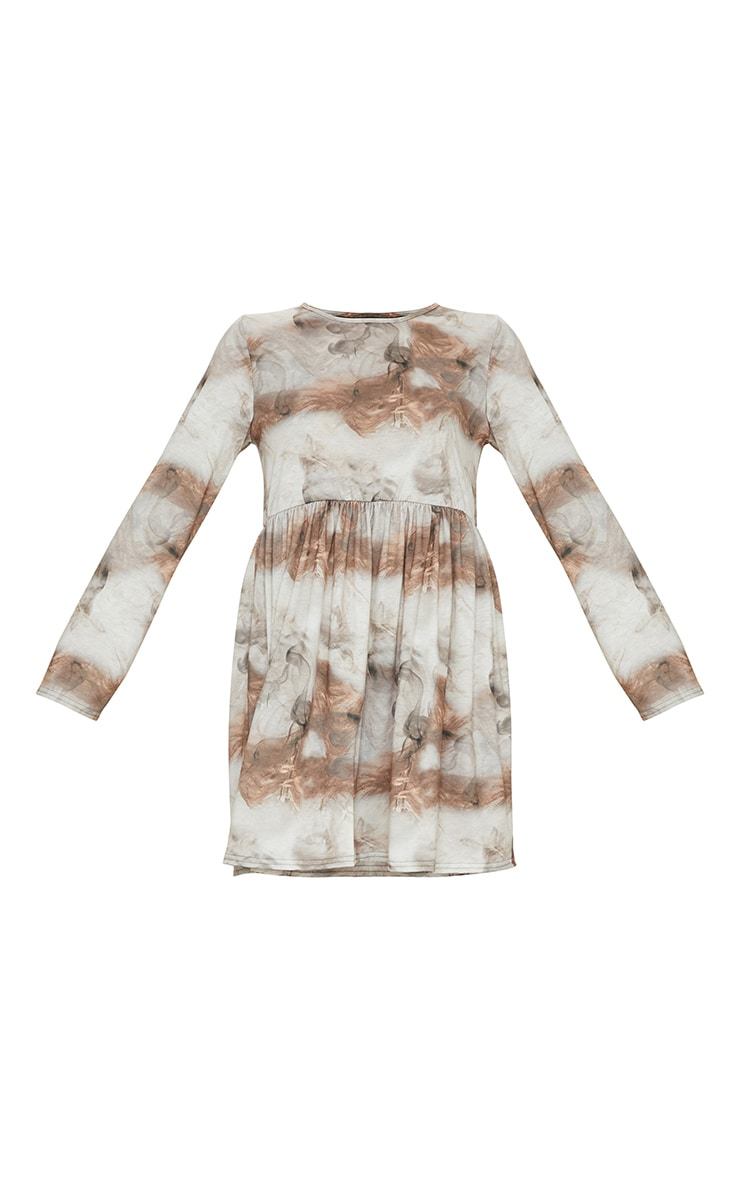 Tan Cloud and Smoke Print Long Sleeve Smock Dress 5