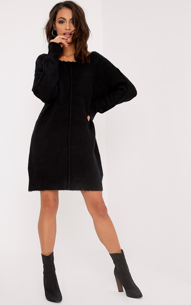 Selah Black Oversized Seam Detail Brushed Jumper Dress 4