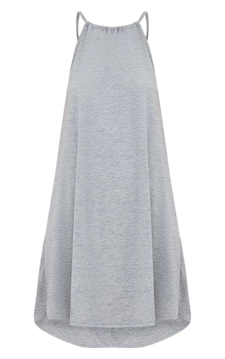 Basic Grey Marl Ruched Halterneck Shift Dress 3