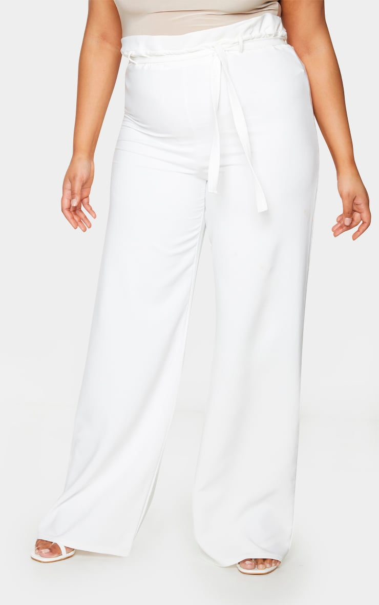 Plus White Tie Waist Wide Leg Trousers 2