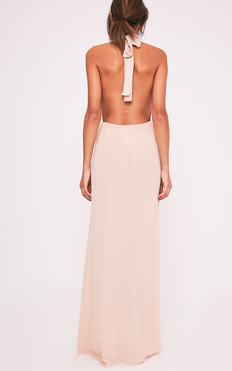 Alina Nude Plunge Maxi Dress 2