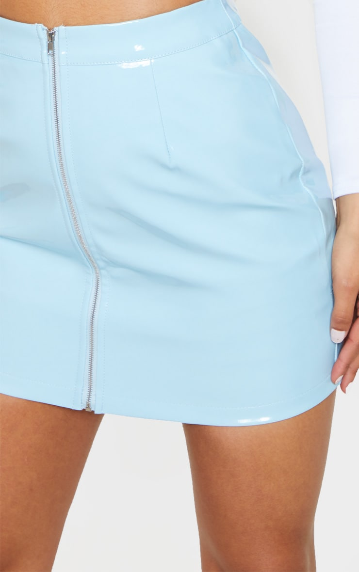 Baby Blue Vinyl Mini Skirt 7