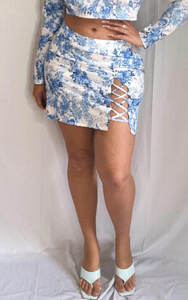 Plus Dusty Blue Porcelain Print Lace Up Detail Mini Skirt 2