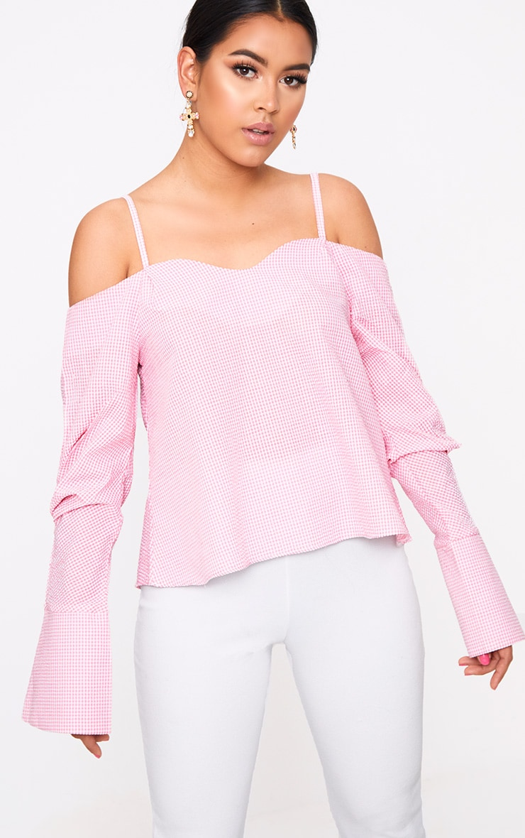 Pink Gingham Check Cold Shoulder Cuff Shirt 1